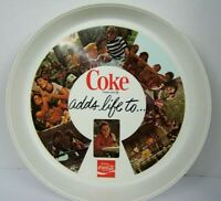 Vintage Coca Cola Coke Adds Life Plastic Round Serving Tray 1970's People 13 In