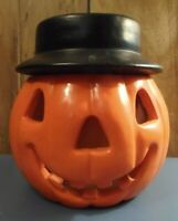 Heavy- Orange Jack O'Lantern with Black Hat-Comanche Pottery