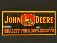 """Vintage John Deere Quality Farm Implements Metal Tin Sign 26""""x10"""" Awesome Shape"""