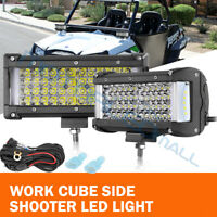 2x 7inch 500W LED Work Light Bar Combo Offroad Driving Lamps ATV 4-Row + Wiring