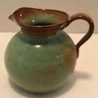 NICODEMUS POTTERY PITCHER GREEN BROWN GLAZE SIGNED 4 INCHES TALL