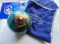ORIENT AND FLUME FLORAL PAPERWEIGHT Iridescence Blue Pulled Feather,1977 SIGNED