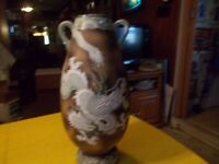 Vintage Japanese Art Pottery Handled Vase