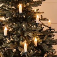 30 Warm White LED Jumbo Flameless Christmas Candle String Lights with Tree Clips