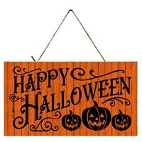 3 Pumpkin Happy Halloween Printed Handmade Wood Sign