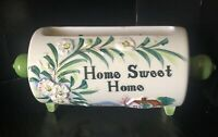 """Vintage Ceramic  Japan Apology Rolling Pin Wall Pocket """"Home Sweet Home"""" Floral"""