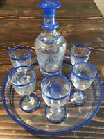 Antique Hand Blown Etched Glass Cordial Set Cobalt Cut To Clear