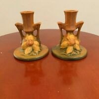 beautiful vintage roseville clematis candle holders