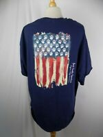 Great Smoky Mountains Pigeon Forge TN Mens Red White Blue US Flag Bear Shirt XL