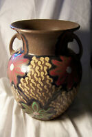 German Art Pottery VASE, Mid-Century Look, but Earlier, Turned & hand painted