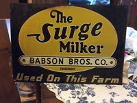 Vintage surge babson bros sign (very scarce sign - RARE!!!!)