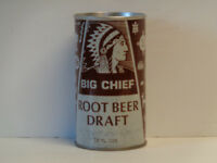 Vintage Big Chief Root Beer Straight Steel Pull Tab Top Opened Soda Can