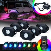 6PC Off-road  RGB LED Rock Lights Victory Series Remote Control for Jeep ATV UTV
