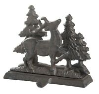 Forest Deer and Evergreen Trees Christmas Holiday Stocking Holder Cast Iron