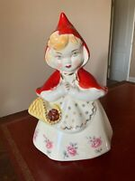 Vintage Hull Little Red Riding Hood Cookie Jar 967, Rare Pink Poppies