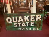 Vintage 6 Foot QUAKER STATE Embossed Tin Building Advertising Sign