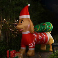 VIVOHOME 7ft Long Christmas Inflatable LED Dog w/ Hat & Tree Outdoor Yard Decor