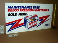 AC DELCO GM -- OLD VINTAGE Gas Station SIGN - Post Terminal Battery - GIANT SIZE