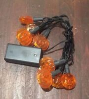 10 Light Halloween String Lights Battery Powered Christmas Lamps Orange Pumpkin