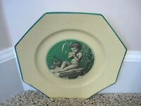 Antique Sarreguemines France Baby Playing Flute on A Stone Grave Mourning Plate