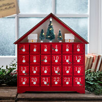 Pre Lit Red Wooden Christmas Advent Calendar Decoration with Drawers