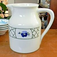 Discontinued HARTSTONE POTTERY PANSY Large PITCHER 64 oz Purple Flowers NICE!