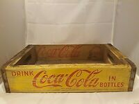 Vintage Wooden Yellow Coca Cola Coke Carrying Case Crate Box Container 1966