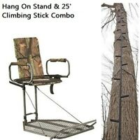 Tree Stand & 25' Climbing Stick Hang On Hunting Combo Set With Safety Harness
