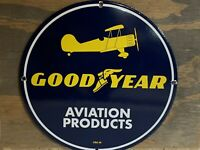 12in GOOD YEAR AVIATION PRODUCTS PORCELAIN ENAMEL SIGN OIL GAS
