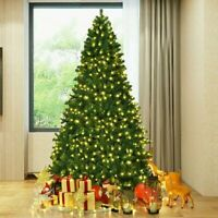6FT Green Artificial Christmas Tree Hinged With 300LED Light W/Stand DIY Install