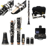 Clarinet 17 Key B Flat Soprano Nickel Exquisite With Case+Care Kit Woodwind O9D0