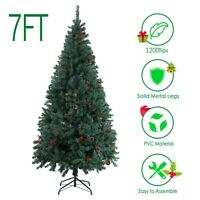7FT Artificial Christmas Tree Green Cristmas Pine New Year Decoration Home 210cm