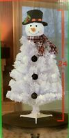 24in Snowman Artificial Christmas Tree White Battery Pre Lit Lights Decoration