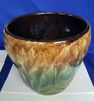 Vintage McCoy Pottery Brown & Green Drip Glaze Moon Sun Planter Pot Jardiniere