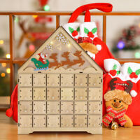 VIVOHOME Christmas Advent Calendar Countdown Candy Box Wooden LED Decor Gift NEW