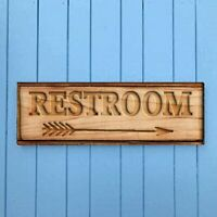Rustic Restroom Wood Signs Vintage Distressed Look Farmhouse Style Sitter