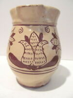 Redware Yellow Ware Sgraffito pitcher Tulips Unmarked  4 3/4