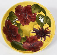 Vintage Moorcroft English Ceramic Purple Red Floral on Yellow Bowl 10-3/8