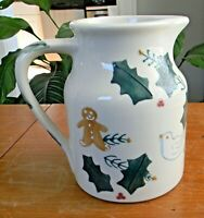 Vintage HARTSTONE POTTERY CHRISTMAS TRADITIONS Large PITCHER 64 oz EXCELLENT!