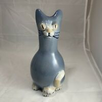 Louisville Stoneware Pottery Blue Ceramic Cat Pitcher Vase Made In Kentucky