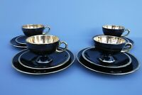 12pc Norsk Flint Egersund Black Gold Cups Saucers and Plates Most w/ Labels