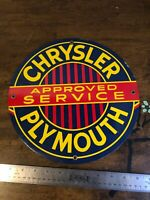 VINTAGE CHRYSLER PLYMOUTH Heavy Metal 11.75'' SIGN GAS OIL PUMP PLATE
