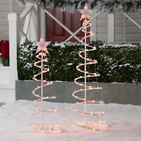 LED Lighted Spiral Tree 2 Pack Christmas 4ft 3ft Outdoor Decor LED Lighting NEW