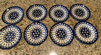 "BOLESLAWIEC SET OF 8 POLISH POTTERY 7.5"" PEACOCK SALAD DESSERT PLATES Blue"