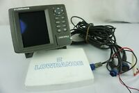 Lowrance LMS-330C Fish Finder w/ Transducer Power Cord Mount & Screen Cover