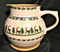 Outstanding Large Christmas Pitcher Jug Holly Reindeer Nicholas Mosse Pottery Ir