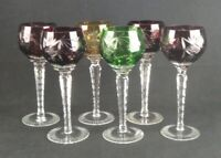 Set 6 Cut to Clear Wine Hocks Goblets Grape Cut Crystal Red Green Purple
