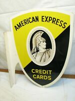 American Express Shield Double Sided Sign Credit Cards Centurion Porcelain Metal