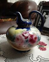 Antique Nippon Pitcher Hand Painted Roses Cobalt Blue Trim