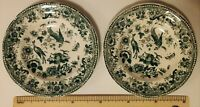 2 1830-1870 Victorian Antique Staffordshire Green Transferware Cup Plates 19th c